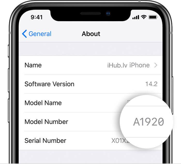 iphone modeļa numurs